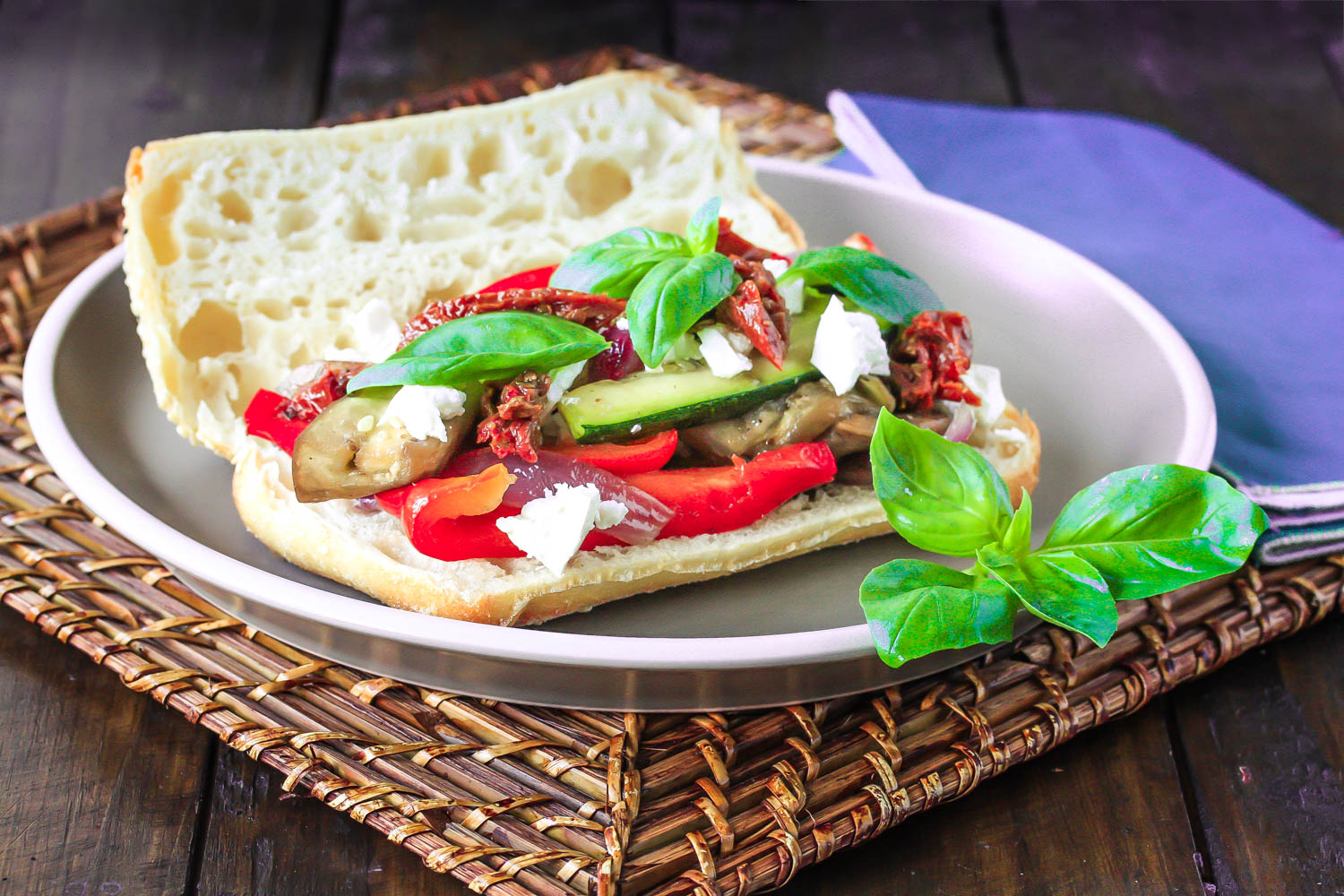 Roast vege sandwich with feta and sundried tomatoes
