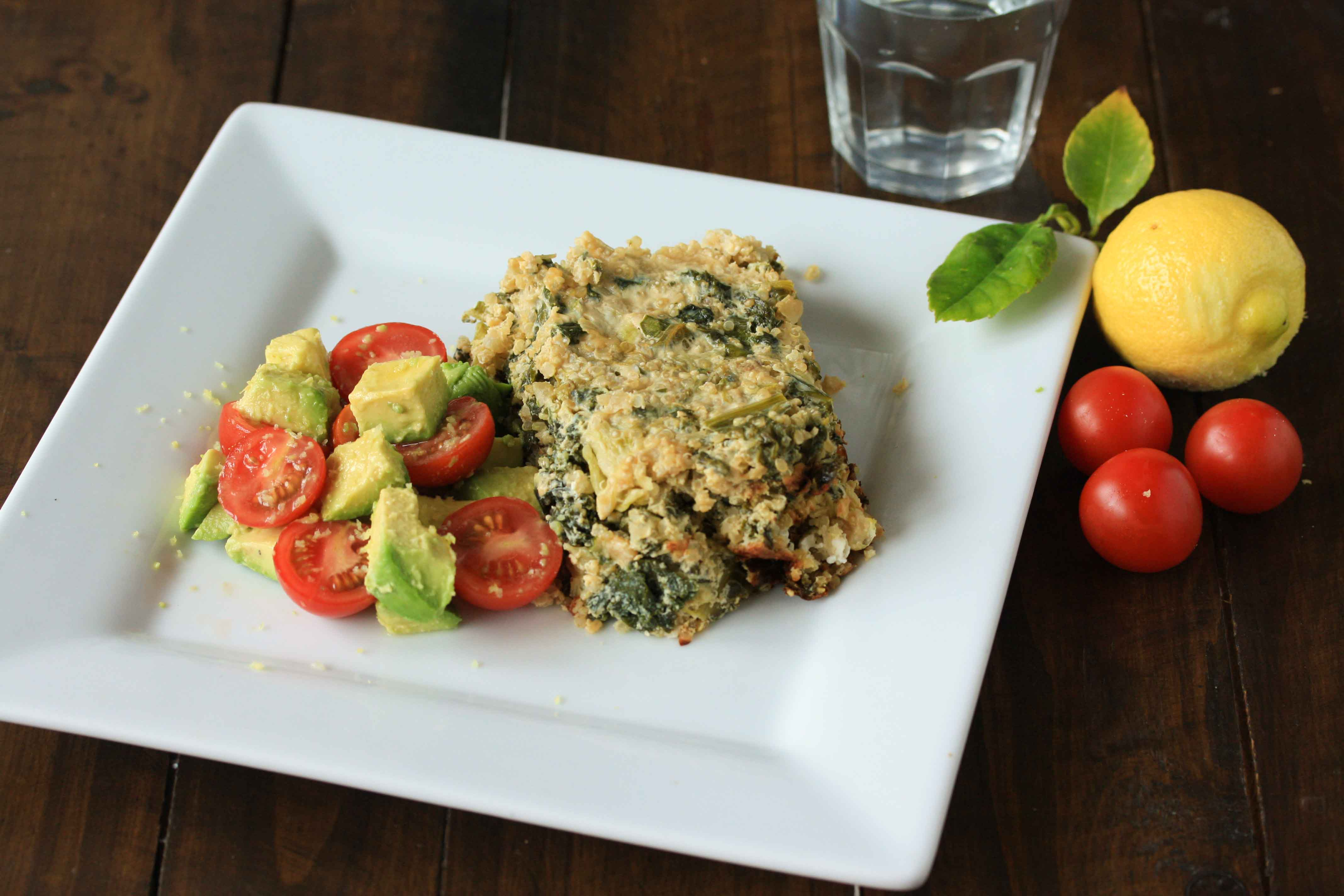 Quinoa and kale frittata with avocado and tomato salsa
