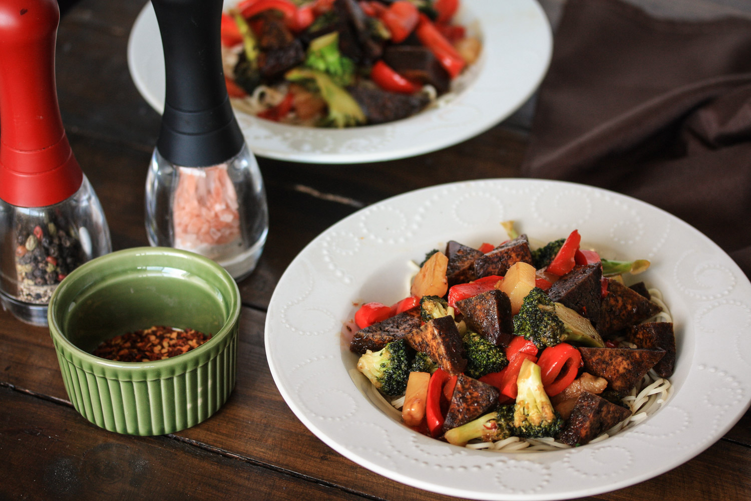 Tofu, broccoli and red capsicum stir fry with oriental plum sauce